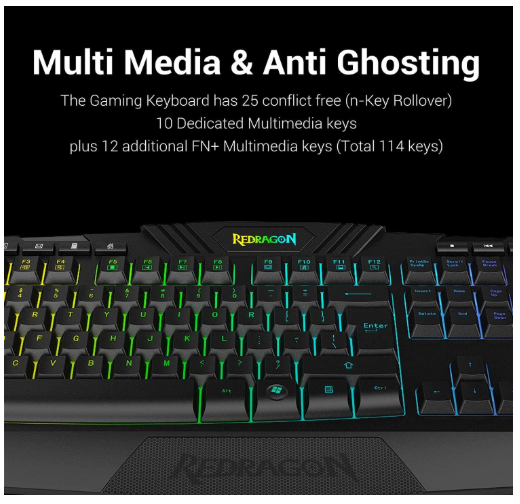 Wired Gaming Keyboard and Mouse Combo RGB Backlit Gaming Keyboard with Multimedia Keys Wrist Rest Red Backlit Gaming Mouse Windows PC