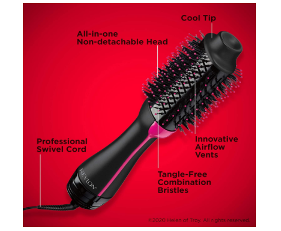 Black One-Step Hair Dryer Volumizer Hot Air Brush - Red Frog Deals