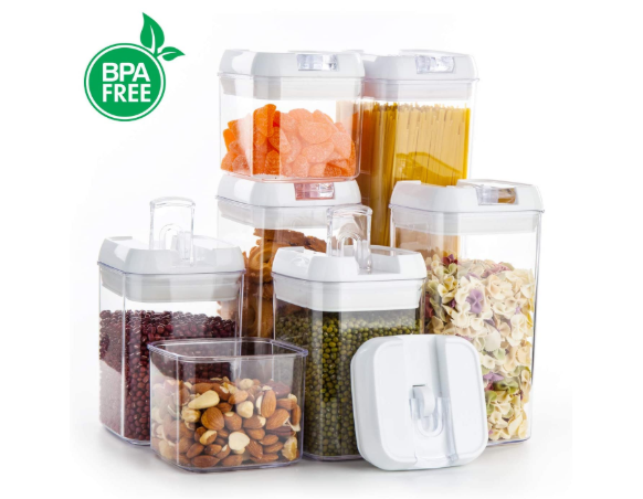 Airtight Food Storage Containers, Plastic Cereal Containers with Easy Lock Lids - Red Frog Deals
