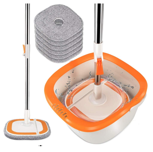 Wringer Spin Mop Bucket System Washable Refills Floor Cleaner - Red Frog Deals