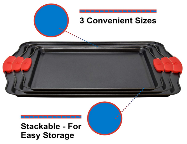 3 Piece Baking Sheets Nonstick Bakeware, Rectangle Cookie Pans in 3 Sizes - Red Frog Deals