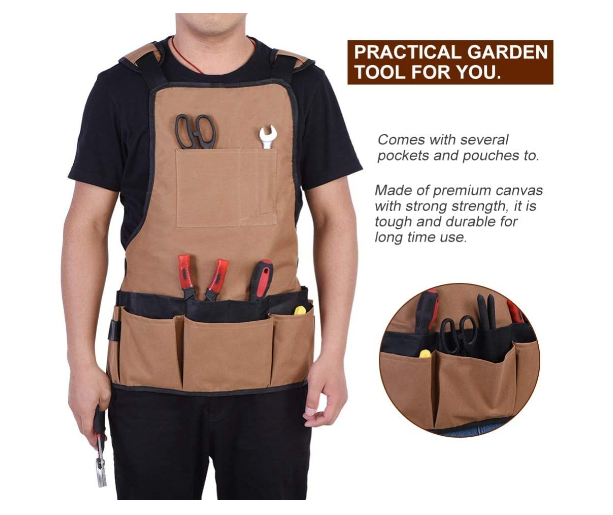 Woodworking Apron, 15-Pocket Oxford Cloth Waterproof Tool Apron