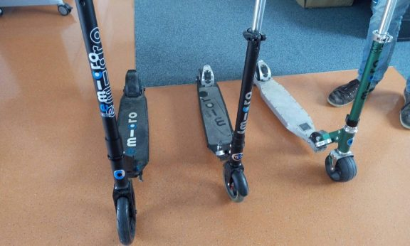 First prototype of the emicro on the right to the finished article on the left.