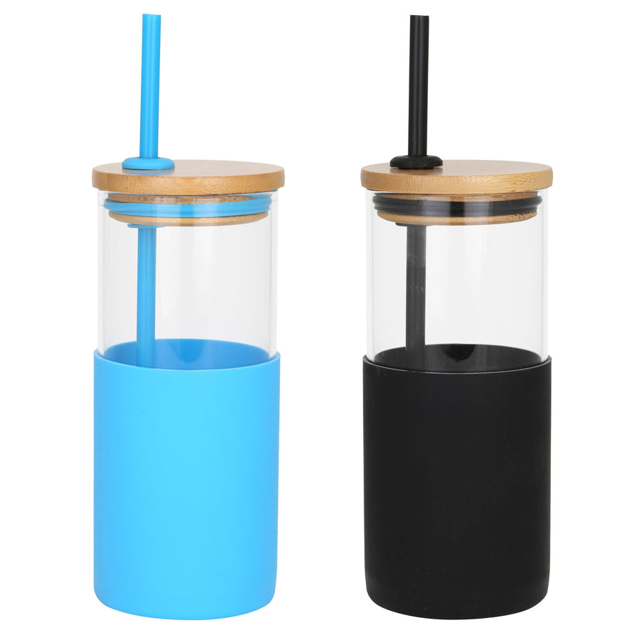 Description Our 18 Oz Glass Tumbler Features A Colorful Protective Silicone Sleeve With A Matching Reusable Straw The Bamboo Lid Is The Perfect Touch Of Earthy And Eco Friendly This Tumbler Set