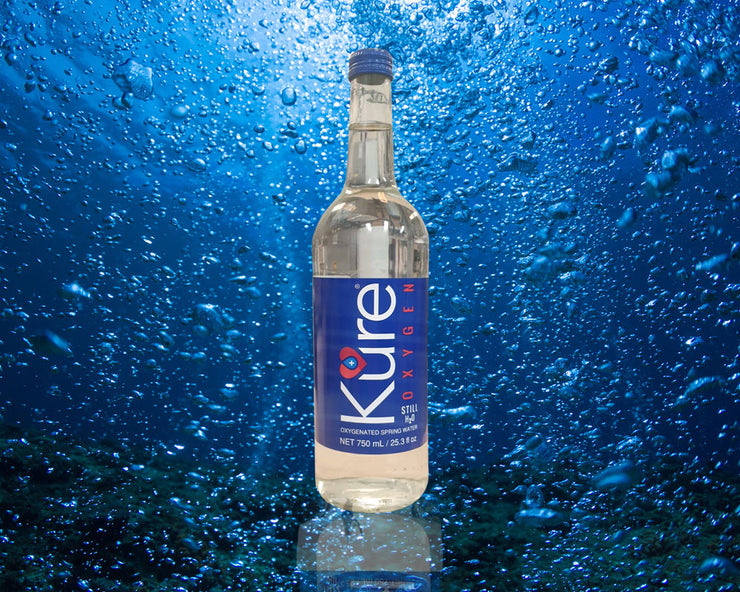 12 x 750ml Glass Bottle Kure Oxygen Water