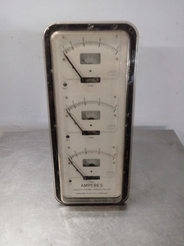 LINCOLN THERMAL DEMAND ELECTRICAL LABORATORY GAUGE AMPERES VOLT METER PANEL WHITE BLACK SINGLE UNIT