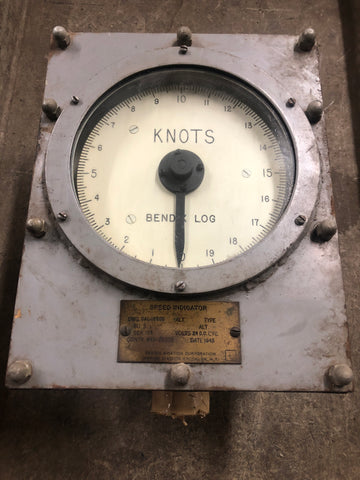 SPEED INDICATOR KNOTTS SHIP MILITARY NAUTICAL NAVY WHITE FACE GAUGE IN BOX SINGLE UNIT