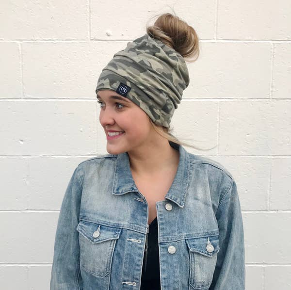 Camo Messy Bun Peek a Boo Beanie / Face Covering