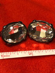 Black Tone Oval Clip On Earrings