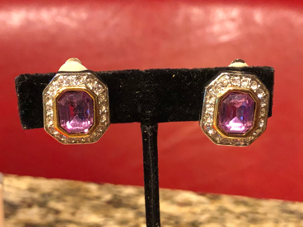 Silver Tone Octagon Pink Crystal Earrings