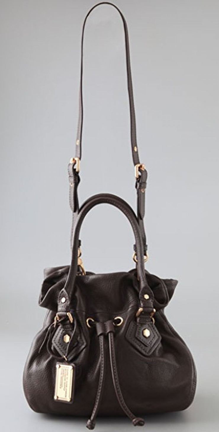 Marc By Marc Jacobs Classic Q Drawstringy Leather Bag NWT Brown Satchel Cross