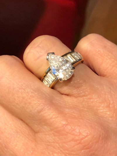 Gold Tone Pear CZ Engagement Ring Sz 6