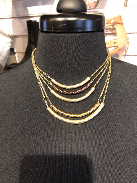 Statement Necklace Curved Bars Multi Tone