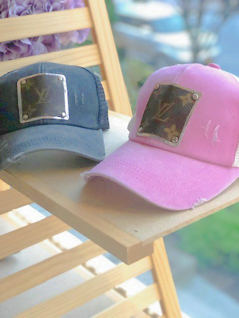 Berry Pink Trucker Hat w Repurposed LV Canvas