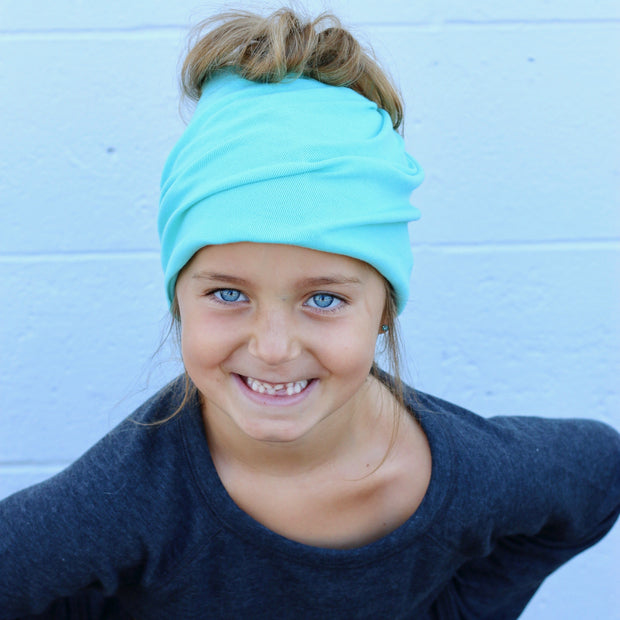Child Size Teal  Messy Bun Peek a Boo Beanie / Face Covering