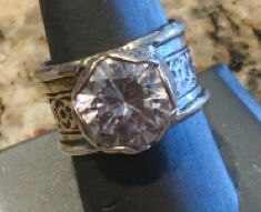 Wide Band Sterling Silver Gemstone Ring