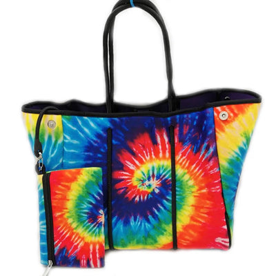 Neoprene Multi Color Tie Dye Tote