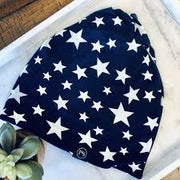 Blue w White  Stars Messy Bun Peek a Boo Beanie / Face Covering
