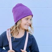 Child Size Plum Messy Bun Peek a Boo Beanie / Face Covering