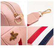 Vegan Leather Baby Pink Crossbody Bee Bag