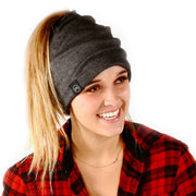 Charcoal Gray Messy Bun Peek a Boo Beanie / Face Covering