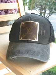 Charcoal Gray Trucker Hat w Repurposed LV Canvas