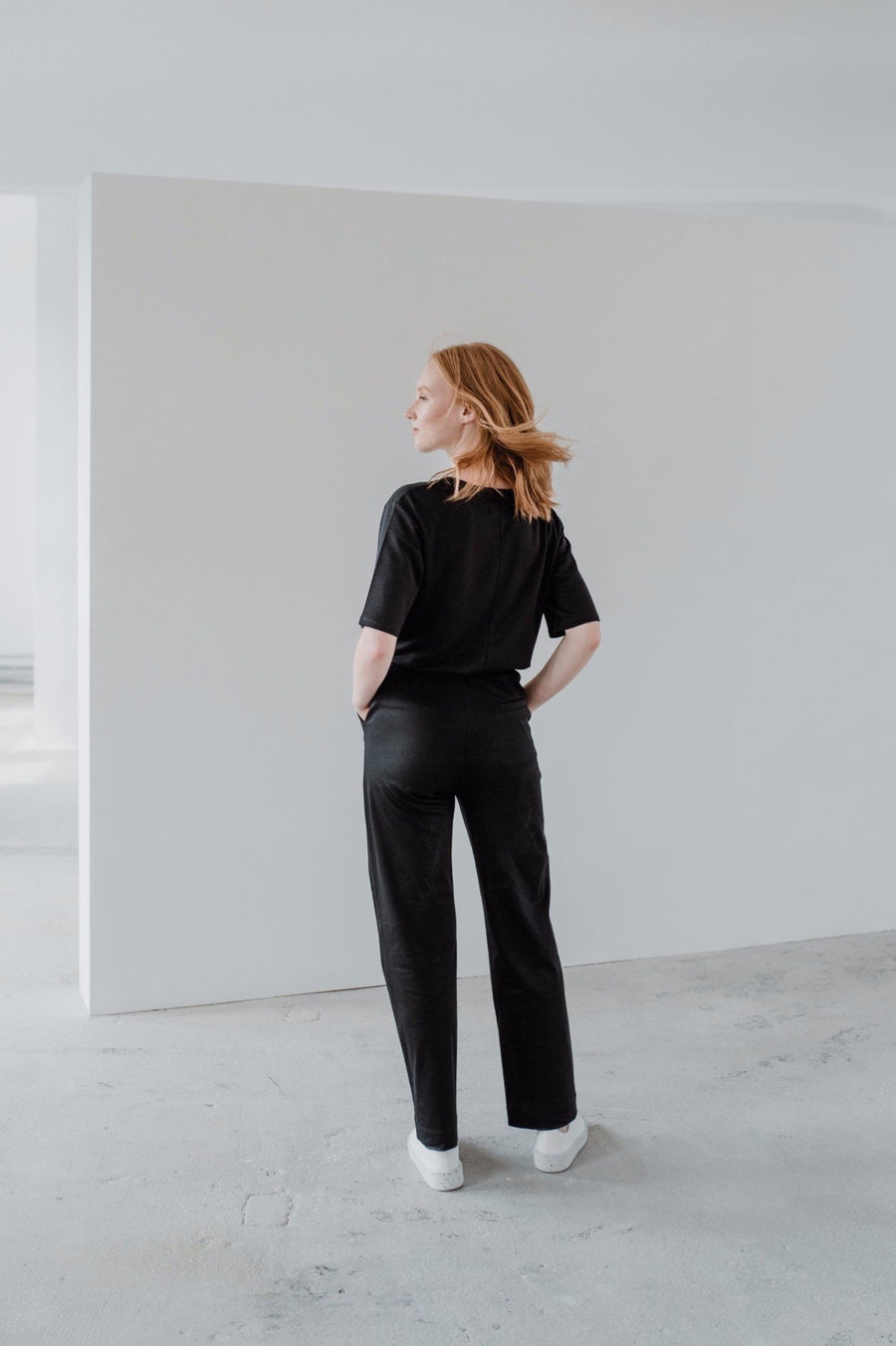 sustainable Black Pants PINE back