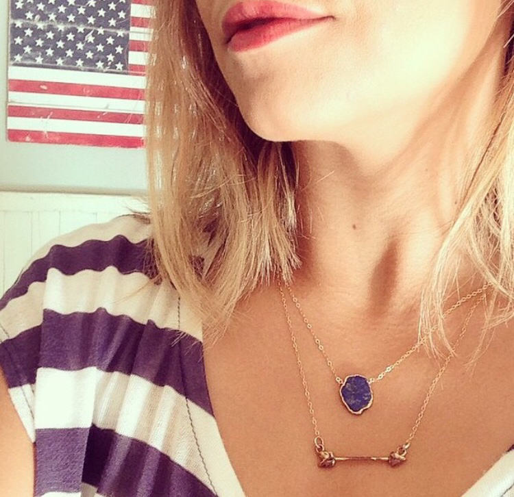 Charlotte Lapis Lazuli Gemstone Slice Necklace in Gold