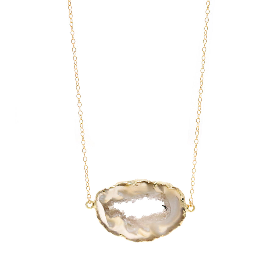 Bridget Agate Slice Necklace in Gold - OOAK!
