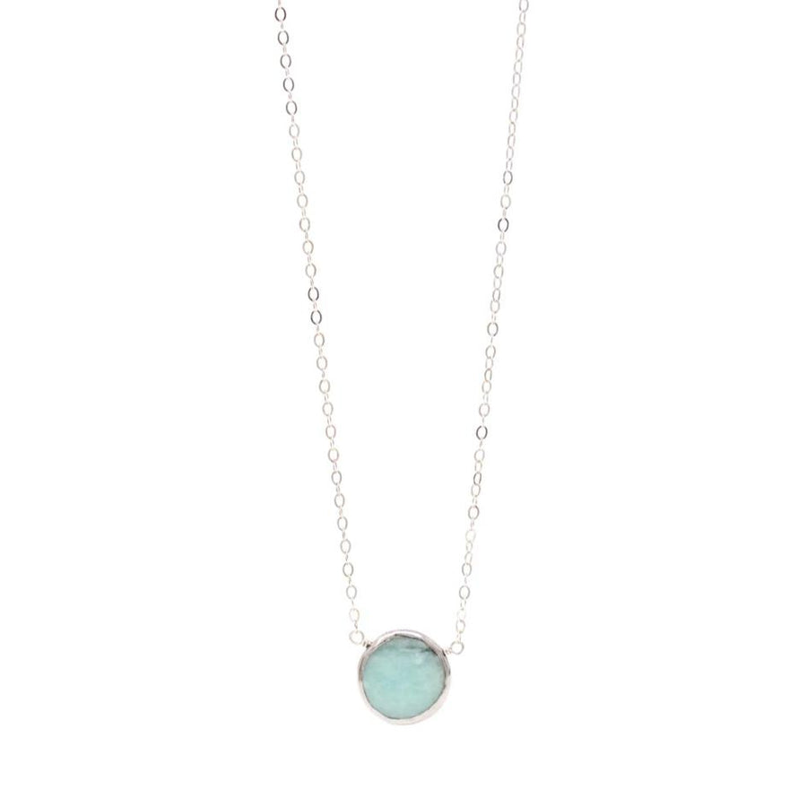 Ashley Amazonite Gemstone Necklace in Silver