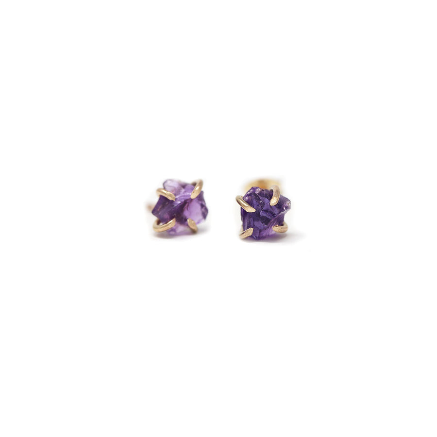 Sadie Amethyst Gemstone Prong Stud Earrings