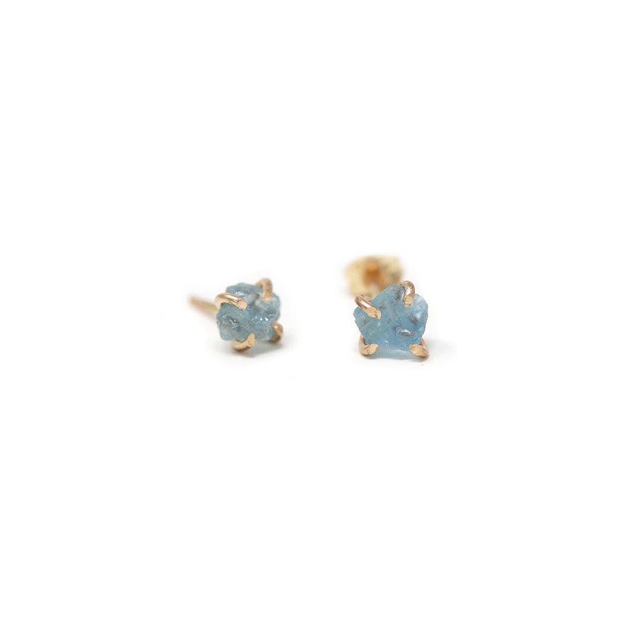 Sadie Aquamarine Gemstone Prong Stud Earrings