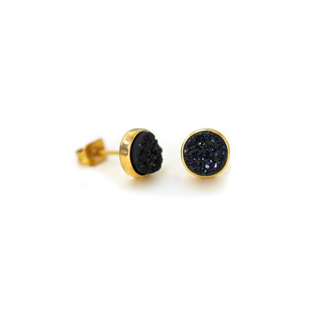 Becki Earrings Midnight Black Druzy