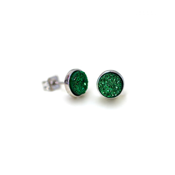 Becki Earrings Evergreen Druzy