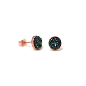 Becki Earrings Olive Green Druzy
