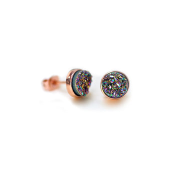 Becki Earrings Rainbow Druzy
