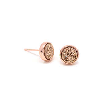 Becki Earrings Rose Druzy
