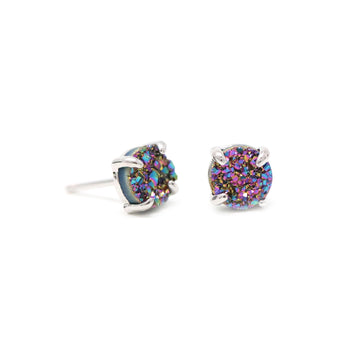 Meaghan Earrings Rainbow Druzy in Silver