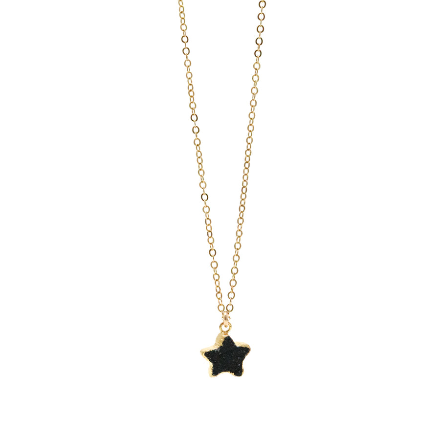Stella Black Star Druzy Necklace in Gold