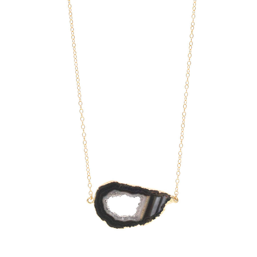 Bridget Black Agate Slice Necklace in Gold - OOAK!