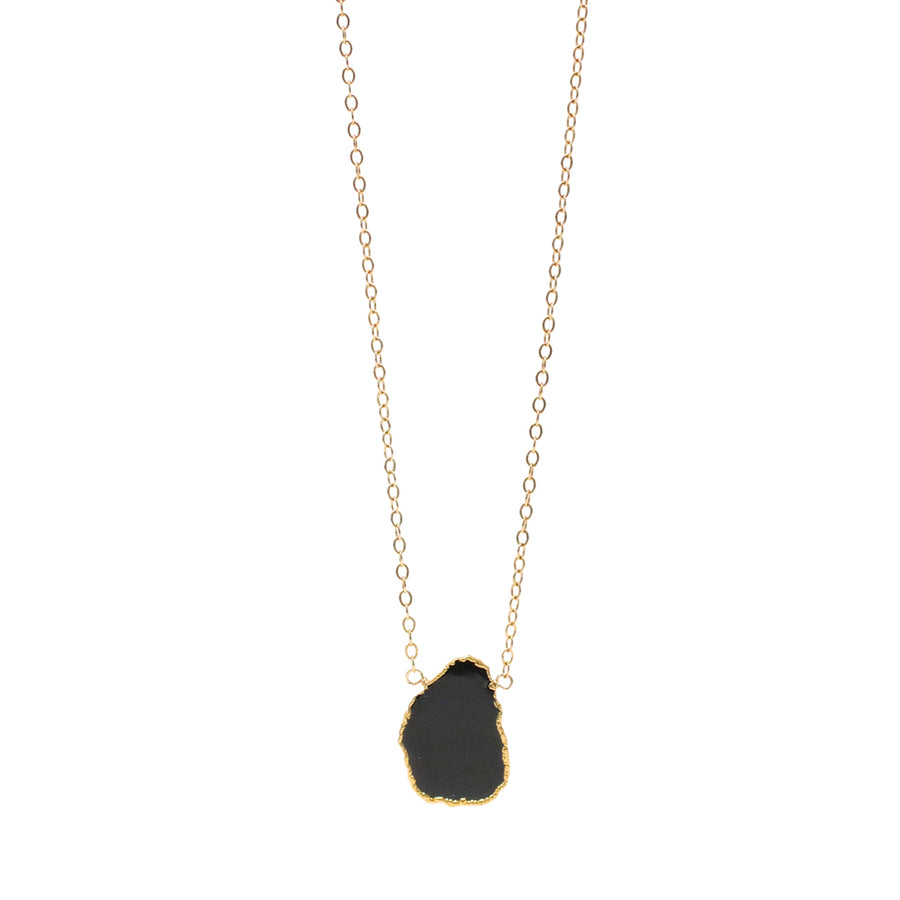 Charlotte Black Onyx Gemstone Slice Necklace in Gold