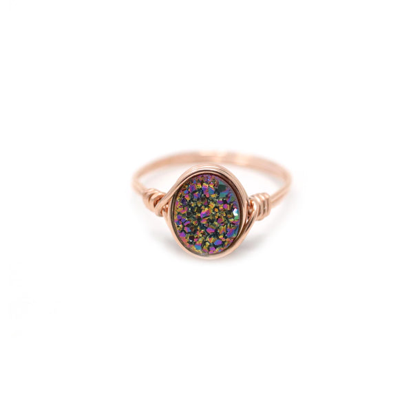 Brigitte Ring in Rainbow Druzy