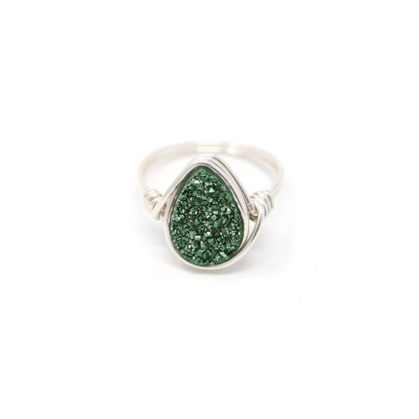 Cora Ring in Olive Green Druzy