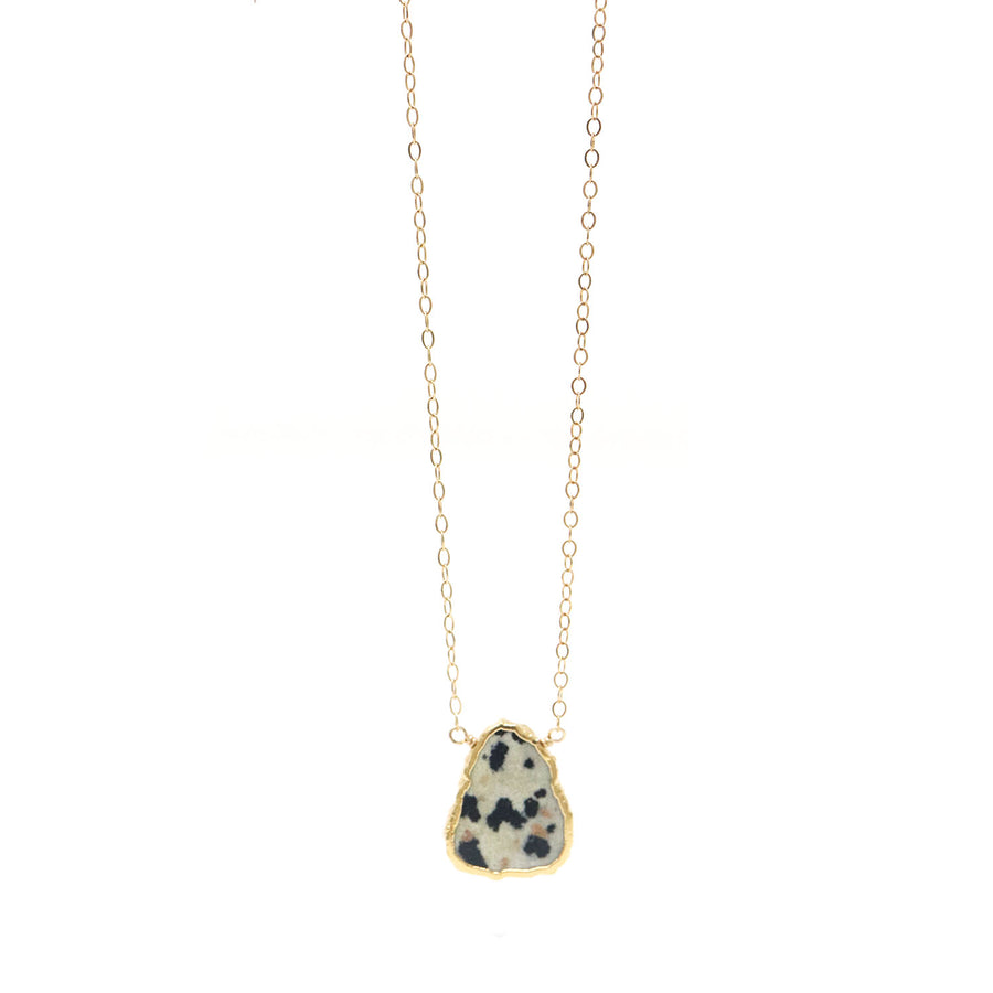 Ashley Gemstone Necklace Dalmatian Jasper in Gold