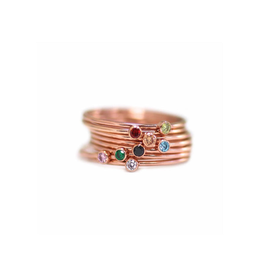 Hailey Gemstone Tiny Stacking Rings