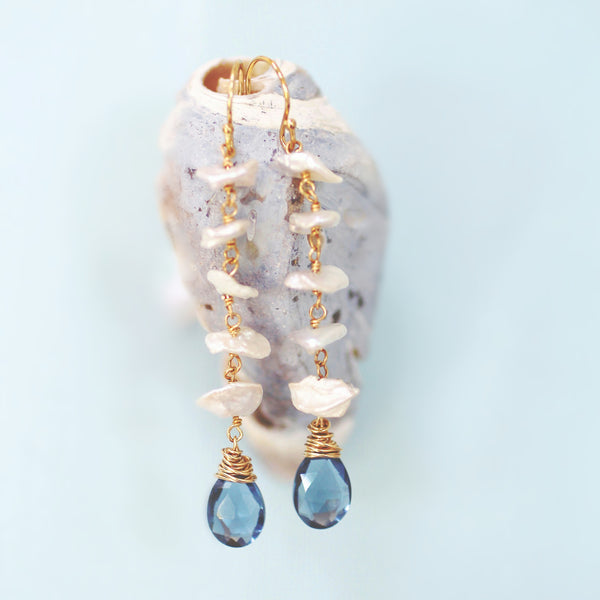 Athena Waterfall Earrings in Keisha Pearl and London Blue Quartz