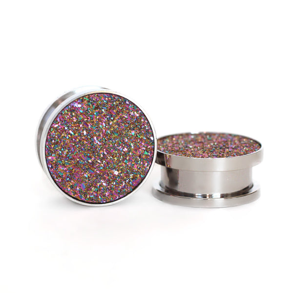 Rainbow Druzy Gauge Tunnels