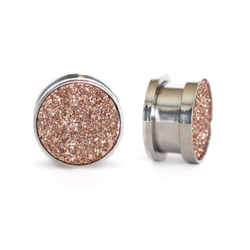Rose Druzy Gauge Tunnels