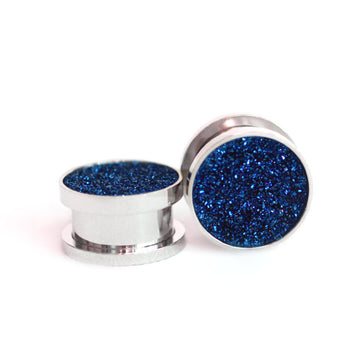 Navy Blue Druzy Gauge Tunnels