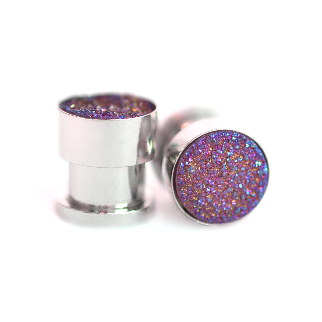 Purple Druzy Gauge Tunnels